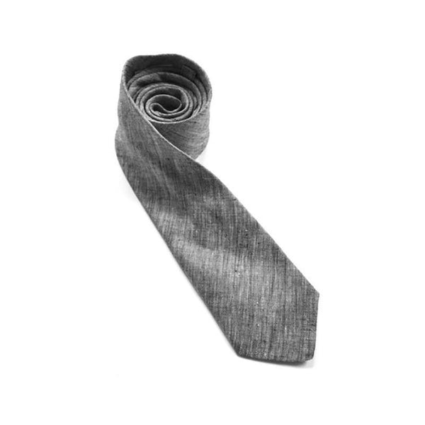 crosshatch chambray grey necktie detail
