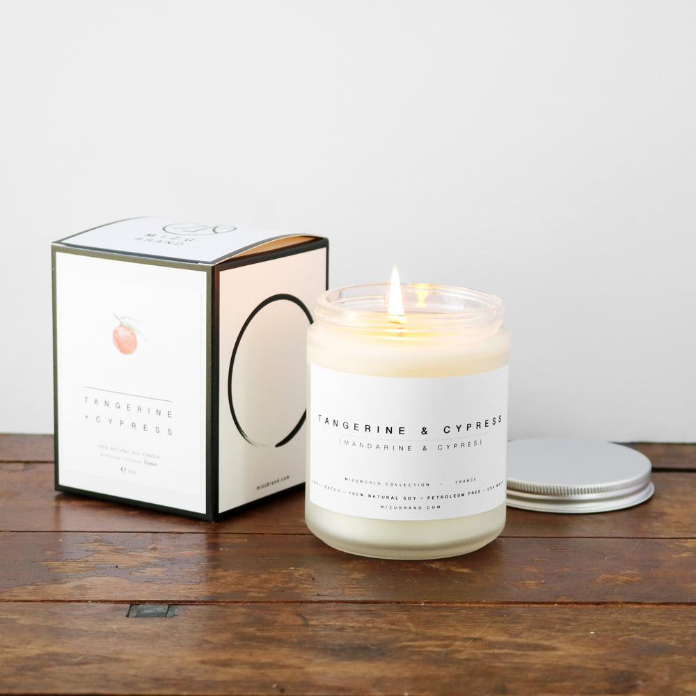 Tangerine and Cypress All natural Minimalist boxed soy candle design