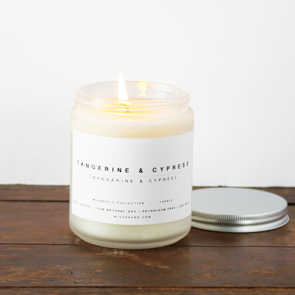 Tangerine and Cypress Essential Oil Soy Candle Minimal Design