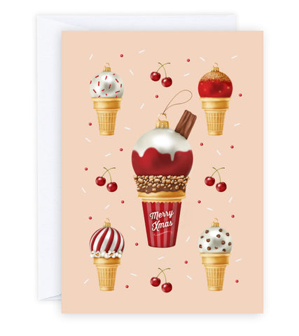 Ice Cream Baubles Greeting Card