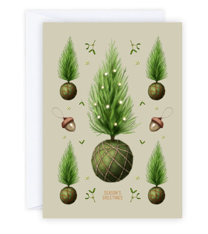 Merry Kokedama Greeting Card