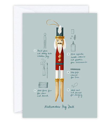 Nutcracker Peg Doll Greeting Card