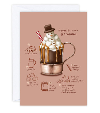 Melted Snowman Hot Chocolate Greeting Card