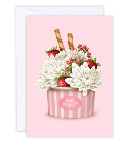 Strawberries & Chrysanthemums Greeting Card
