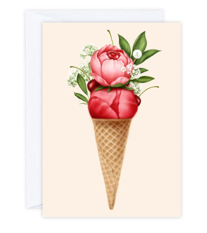 Cherry Peonies Sorbet Greeting Card