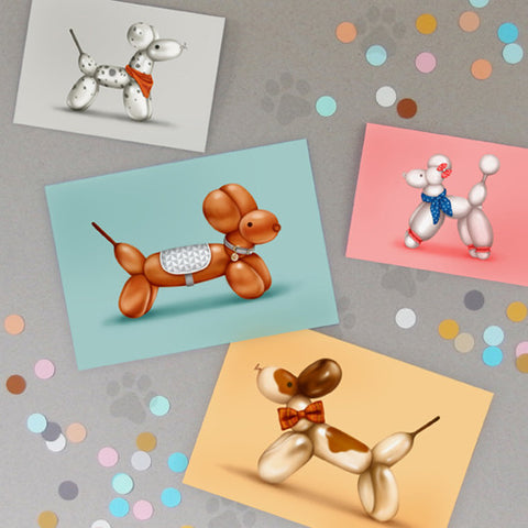 Balloon Animals - Greeting Card Set
