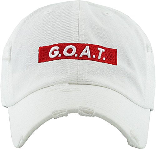 Goat Vintage Distressed  Dad Hat (White) - MIXT Apparel