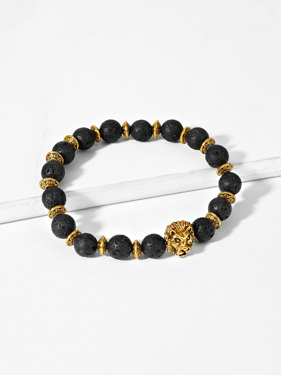 Men Lion Detail Beaded Bracelet - MIXT Apparel
