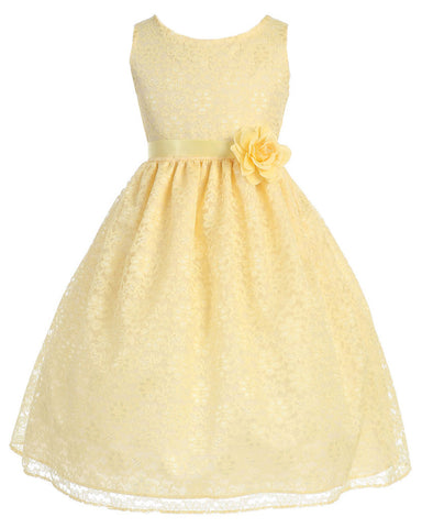 Victorian Floral Lace Flower Girl Dresses Yellow Olivia Koo