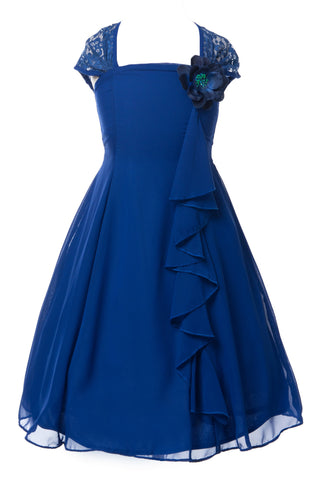 255a7febf5d4 Beautiful Royal Blue Chiffon Flower Girl Dress with Lace Back Flower G –  Olivia Koo