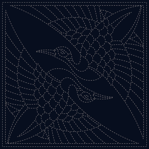 Sashiko Cloth - Two Cranes