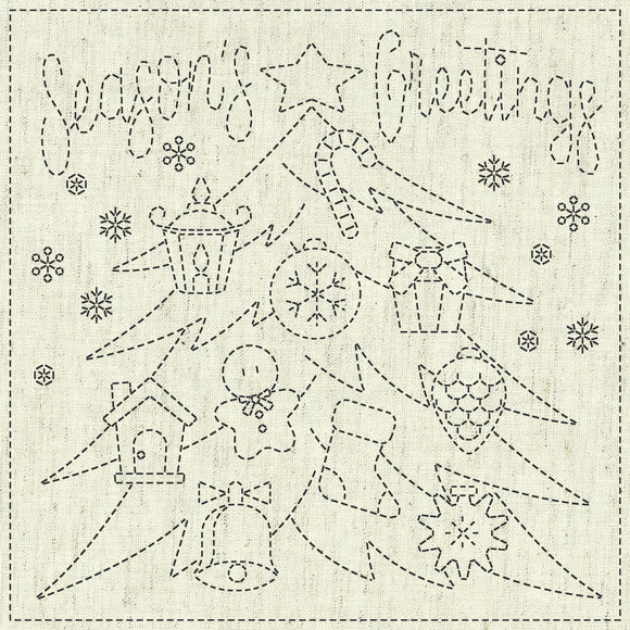 Sashiko Cloth - Season's Greeting Greige