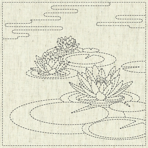 Sashiko Cloth - Water Lily Greige