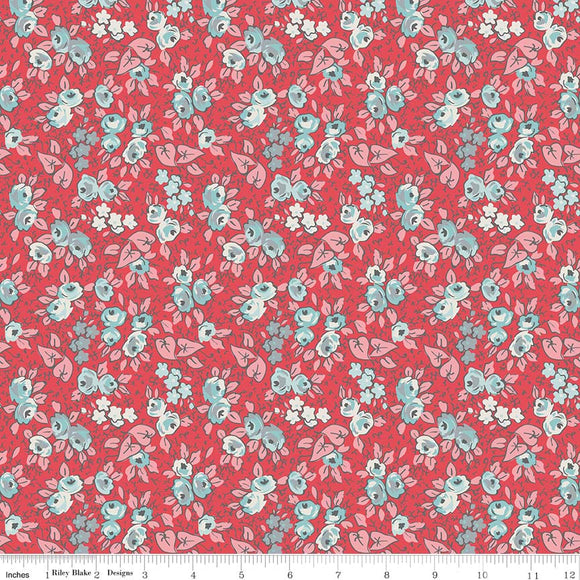 Linen - Lawn Floral Red LW6346-Red