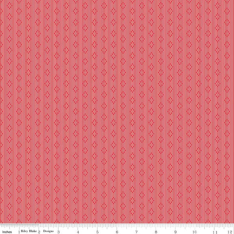 Linen - Lawn Stripe Red - LW6345-Red