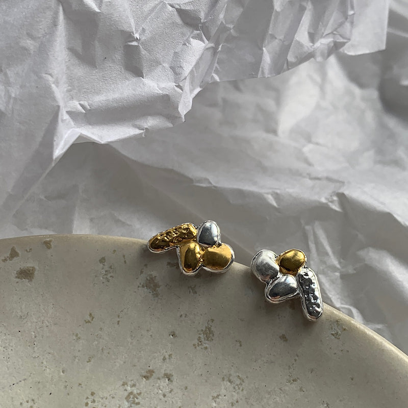 simple nugget cluster studs gold plate sterling silver