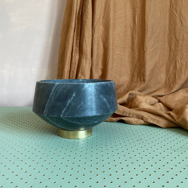 grey marble and gold brass bowls