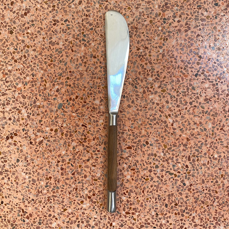 stainless steel inlaid wood timber pate or butter knife