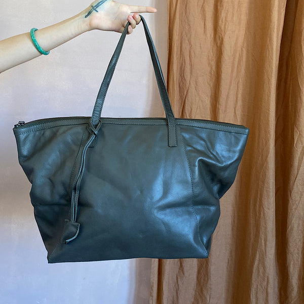 the angie khaki leather tote carry shoulder bag