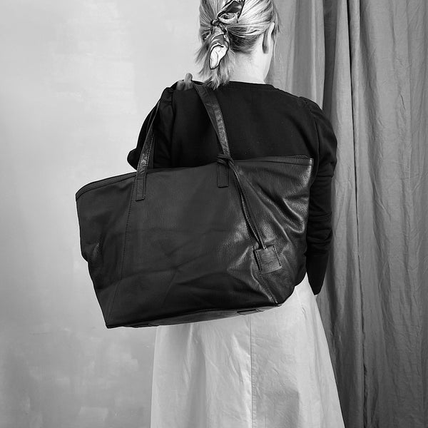 the angie black leather tote carry shoulder bag