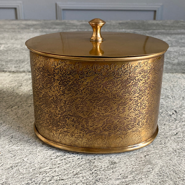 antique finish brass gold cannister box jar