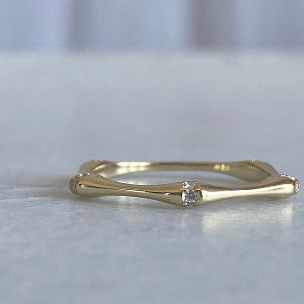 bamboo gold sterling silver crystal stacker ring