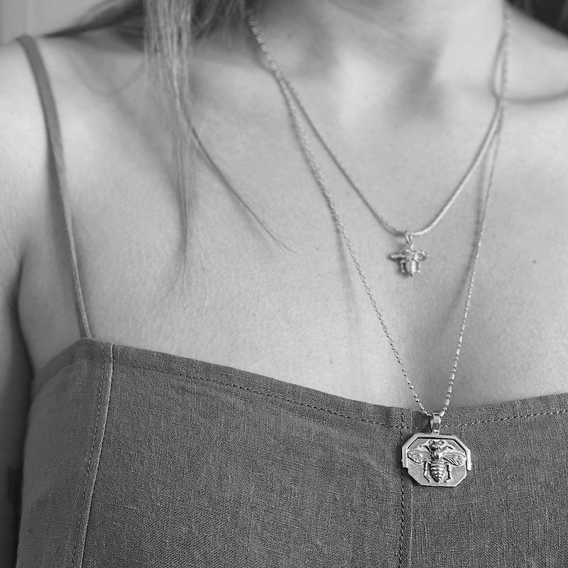 Ligurian Bee Silver Charm Necklace