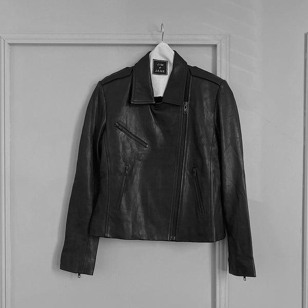 jim and jane essentials nappa leather biker motorcycle jacket