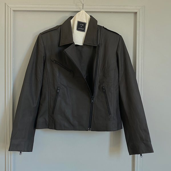 Nappa Leather Biker Jacket | Dark Brown
