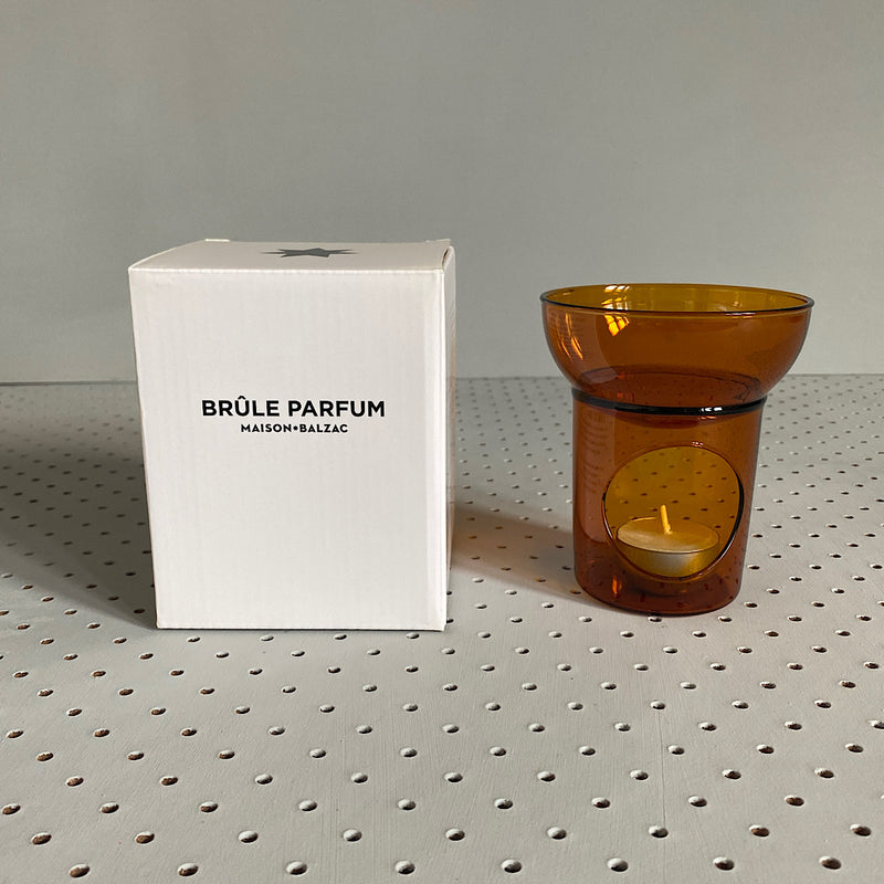maison balzac brule parfum glass oil burner room diffuser in amber