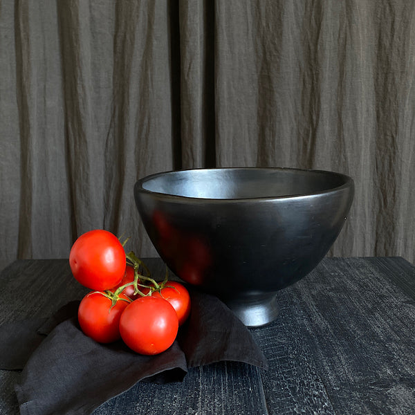 black footed fruit or salad bowl by la chamba clay cookware