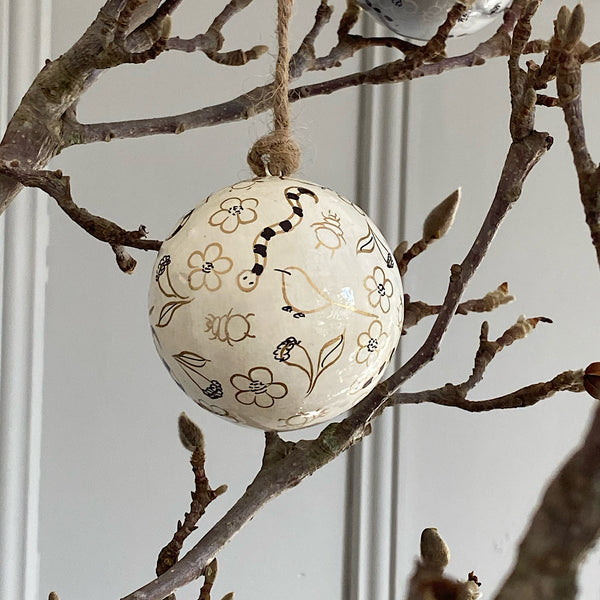 hand painted australian native flora and fauna gold christmas bauble decoration white