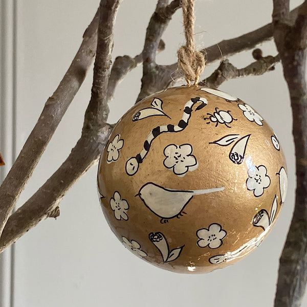 hand painted australian native flora and fauna gold christmas bauble decoration gold