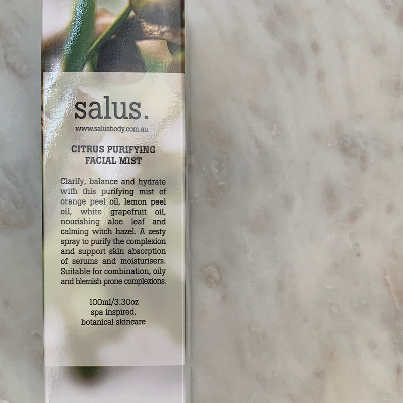 flatlay of the salus citrus face mist by salus body australia