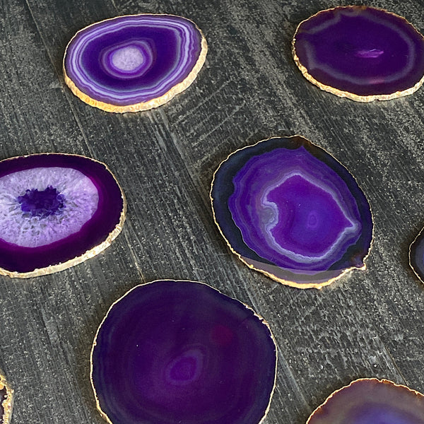 gold rimmed agate crystal purple coasters