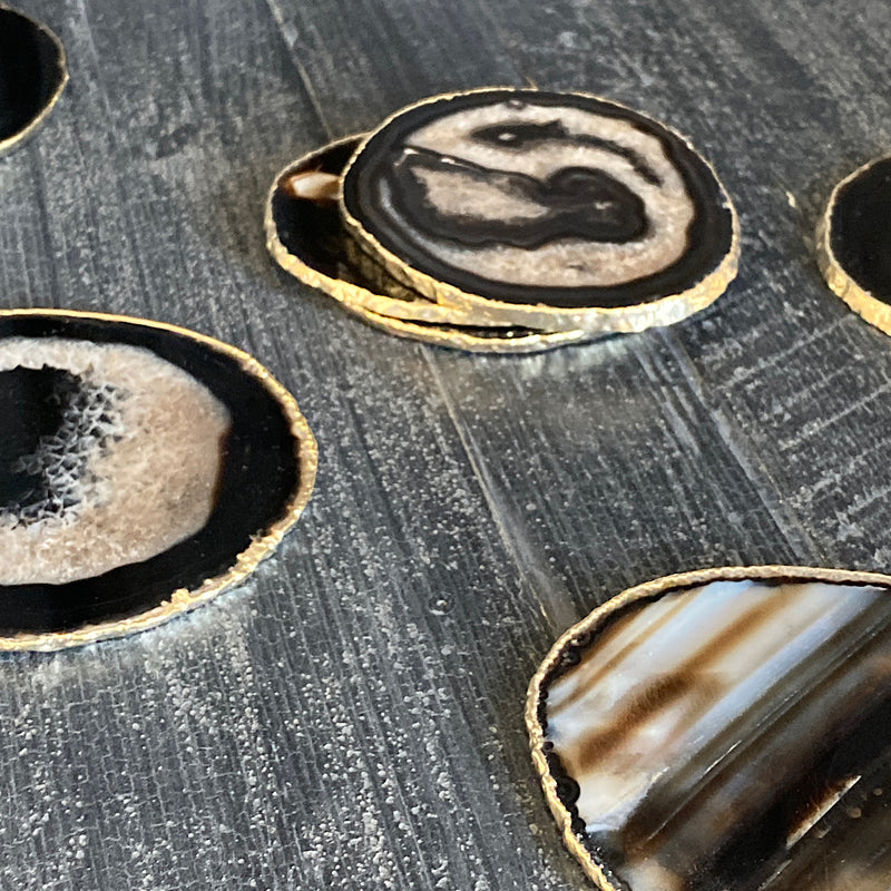 black crystal agate with gold rim plating coasters