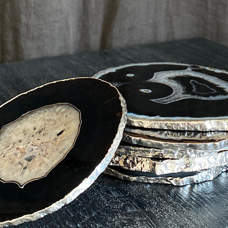 black agate crystal coasters with sterling silver rim
