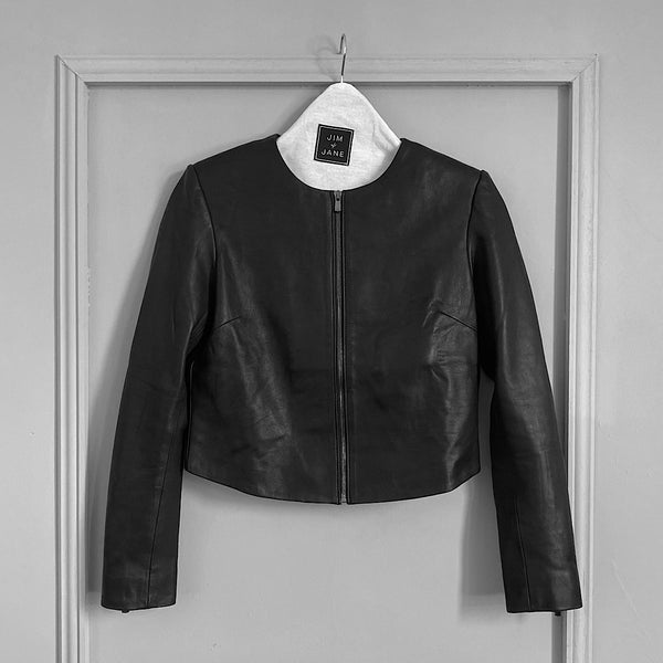 cropped nappa leather jacket crop collarless jacket designed by jim and jane sydney
