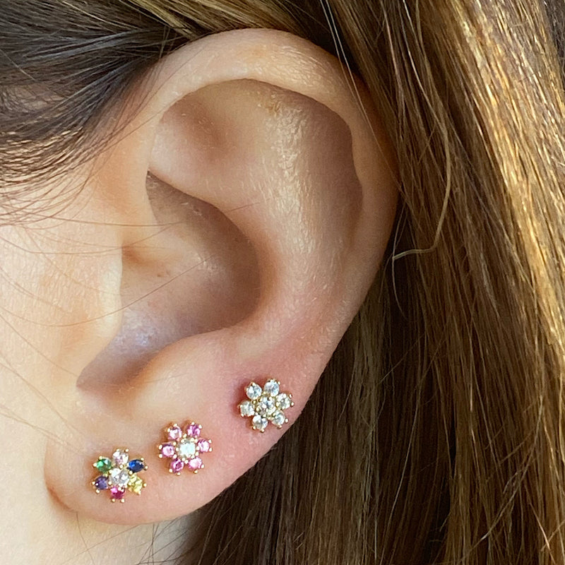 magenta pink crystal flower daisy stud earrings