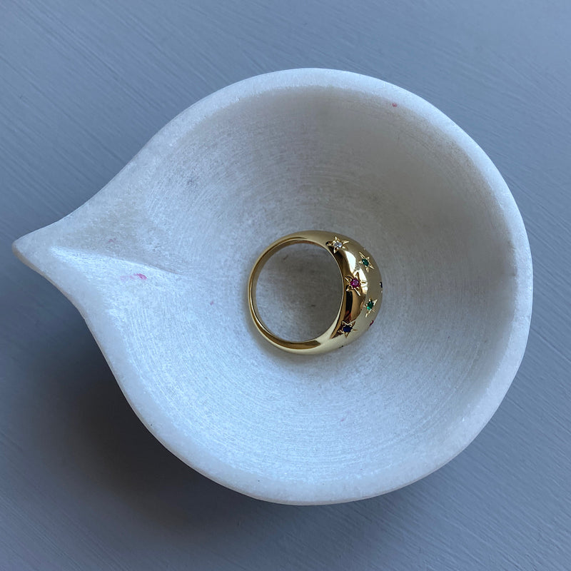 crystal encrusted gold cocktail ring