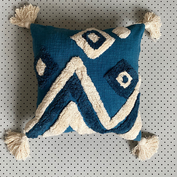day at the beach abstract blue and white tassel tufted cotton cushion cover