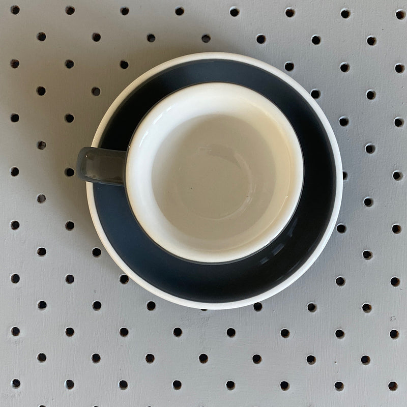 acme & co demitasse cup and saucer porcelain set in grey dolphin