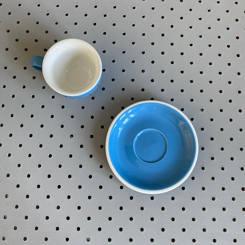 acme & co porcelain ceramic coffee demitasse cup and saucer in blue kokako
