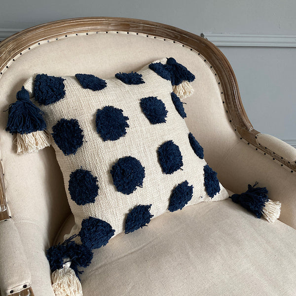 dot dot dot tufted pure cotton cushion pillow cover white with blue pom poms and tassels