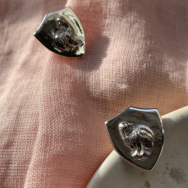 emu family shield stud in sterling silver