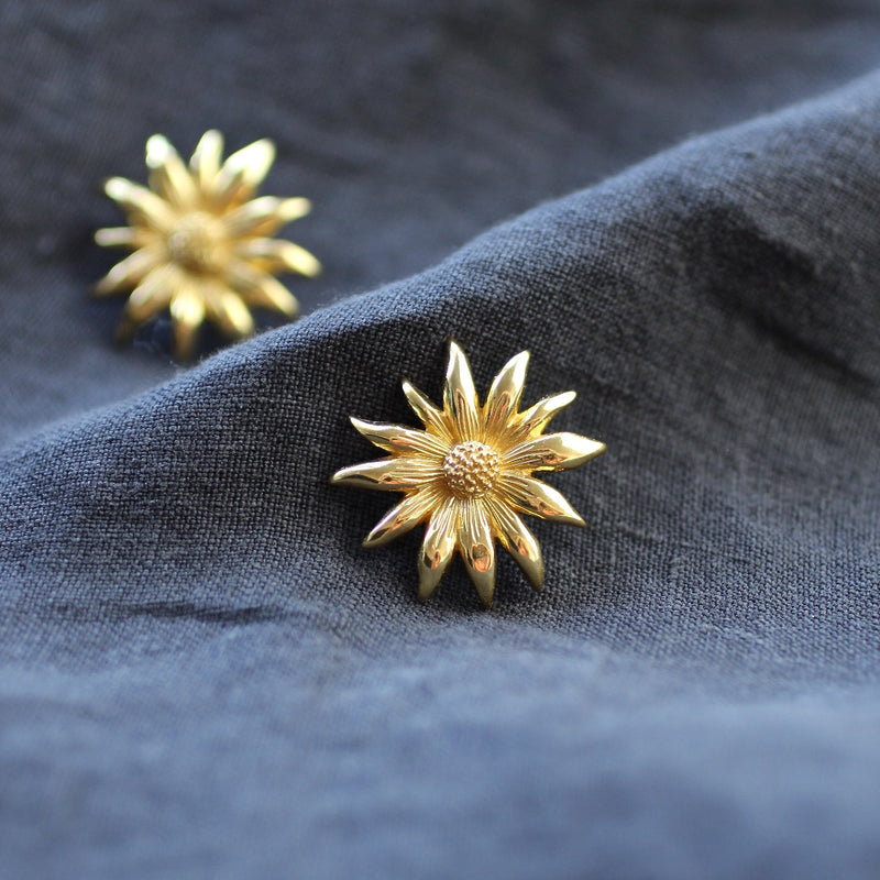 flannel flower stud earrings sterling silver gold plated