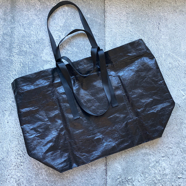 gonca black plastic nylon shopper tote bag carry bag