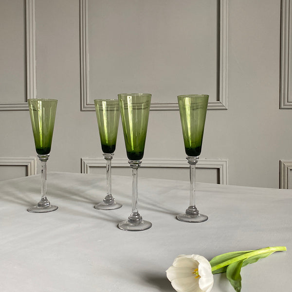 set of four ribbed ripple green champagne glasses coloured glassware