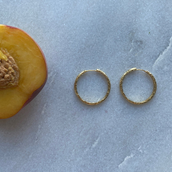 hammered textured hoop earring sterling silver gold plate