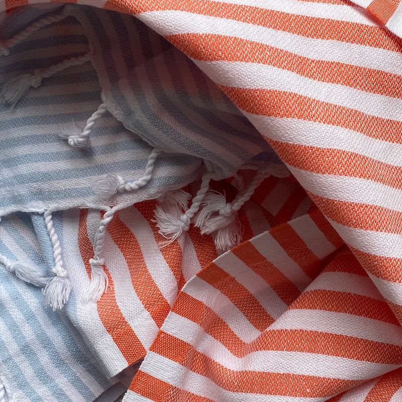 jim and jane 'donatella' turkish cotton hand towel coral and baby blue stripe